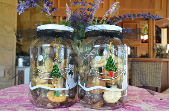 Jars full of biscuits from our cooking exchange.