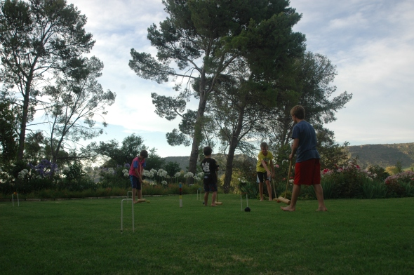 Late afternoon croquet.