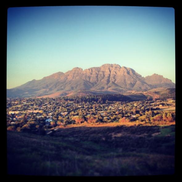 The majestic Simonsberg mountain in Stellenbosch.
