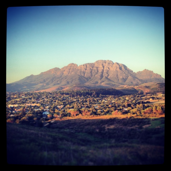 The majestic Simonsberg mountain in Stellenbosch.